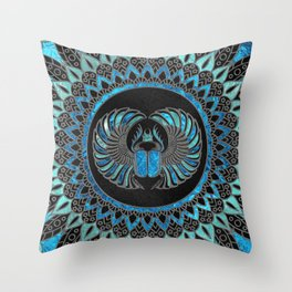 Egyptian Scarab Beetle - Gold and Blue glass Throw Pillow