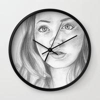 amy pond Wall Clocks featuring amy pond  by Jill Schell