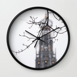 Iconic St. Bavo Church tower of Haarlem in winter | Haarlem historical city, the Netherlands | Urban travel photography Wall Clock