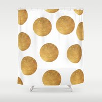 polkadot Shower Curtains featuring GOLD POLKADOT 2 by wlydesign