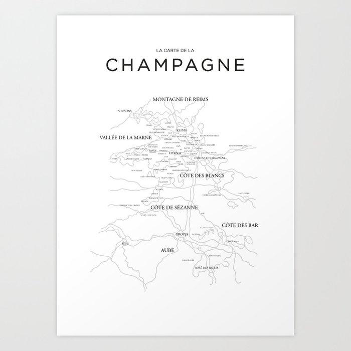 Champagne map Kunstdrucke