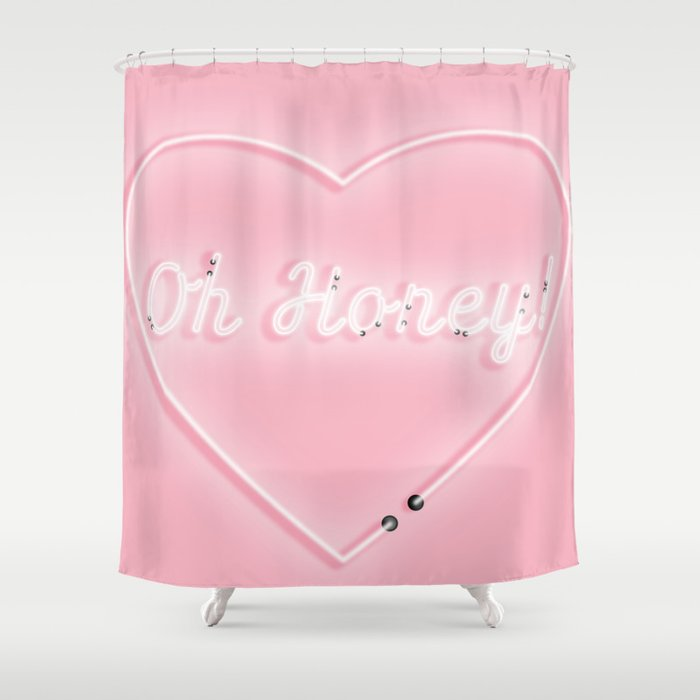 Oh Honey! 'Neon' Sign Shower Curtain