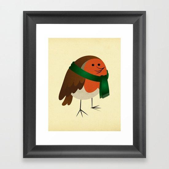 The Robin's new scarf Framed Art Print