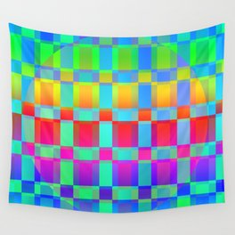 Multi colored square pattern Wall Tapestry
