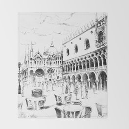 Sketch of San Marco Square in Venice Throw Blanket
