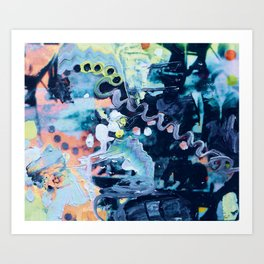 Trippy Paint Blue Orange Art Print