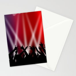 Dancing Crowd With Multi Colour and White Spotlights Stationery Cards