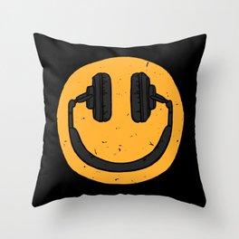 Music fan smile Throw Pillow