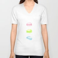 macaroons V-neck T-shirts featuring Mint Macaroons by Svitlana M