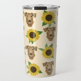Airedale Terrier Sunflower floral print cute dogs and flowers design Travel Mug