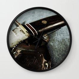 Old Hunting Knife Wall Clock