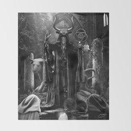 V. The Hierophant Tarot Card Illustration  Throw Blanket