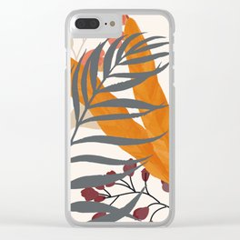 Colorful Red Leaves Clear iPhone Case