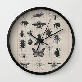 Vintage Insect Study on antique 1800's Ledger paper print Wall Clock