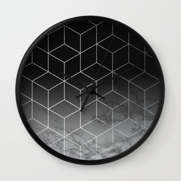 Silver Geometric Cubes Trendy White Grey Marble Wall Clock