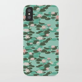 Waterlily pattern in Mint iPhone Case