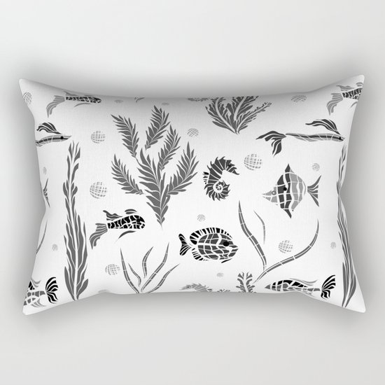 Black and white pattern. Fish . Rectangular Pillow