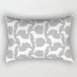 Grey and White Beagle Silhouettes Pattern Rectangular Pillow