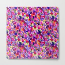 Floral Splash Warm Metal Print