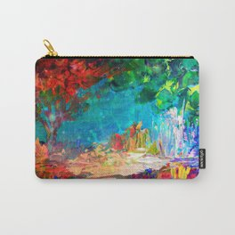 WELCOME TO UTOPIA Bold Rainbow Multicolor Abstract Painting Forest Nature Whimsical Fantasy Fine Art Carry-All Pouch
