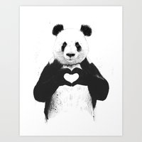 panda Art Prints featuring All you need is love by Balazs Solti