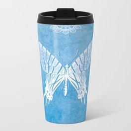 Bohemian Ornamental Butterfly Deep Blue Ombre Travel Mug
