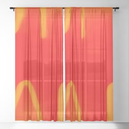 Red Neon Hall Sheer Curtain