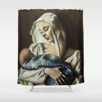 madonna Shower Curtains featuring Madonna with children by Giuseppe Vassallo