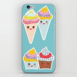 Kawaii cupcakes, ice cream in waffle cones, ice lolly iPhone Skin