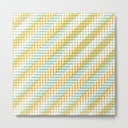 stripes 805. sage. orange. 1 Metal Print