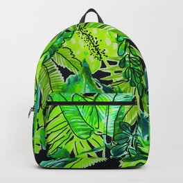 Tropical Leaves in Green  Backpack