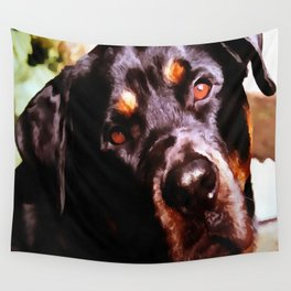 Rottweiler Dog Artistic Pet Portait Wall Tapestry