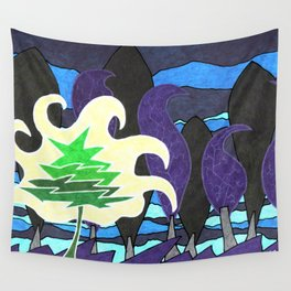 Le sapin et la foret Wall Tapestry
