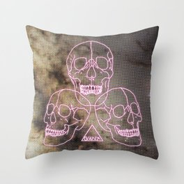 three skulls, a triangle and some stars Throw Pillow