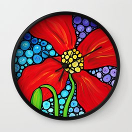 Lady In Red - Big bold beautiful Red poppy by Labor Of Love artist Sharon Cummings. Wall Clock