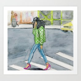 Coily Girl In The City Art Print