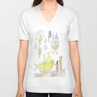 percy jackson V-neck T-shirts featuring Byron Rescues Percy by Ryan van Gogh