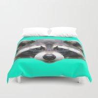rocket raccoon Duvet Covers featuring Raccoon // Mint by peachandguava