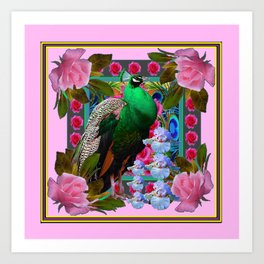 PINK ON  PINK ROSES & GREEN PEACOCK GARDEN FLORAL Art Print
