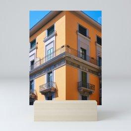 House symmetry on Salerno's coastal and warm architecture Mini Art Print