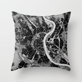 Cologne map black and white Throw Pillow