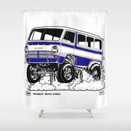 1969 GASSER VAN – Rev 2 BLUE Shower Curtain
