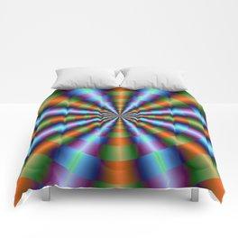 Orange Green Blue and Violet Pleats Comforters