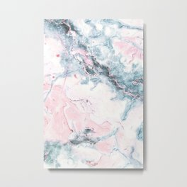 Blue and Pink Marble Metal Print