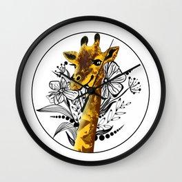 Giraffe illustration Wall Clock