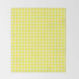 Cream Yellow and Electric Yellow Diamonds Throw Blanket