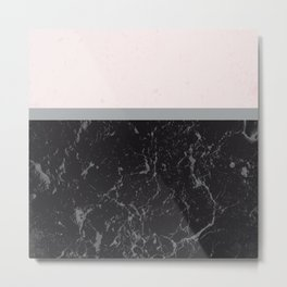 Grey Black Marble Meets Romantic Pink #1 #decor #art #society6 Metal Print