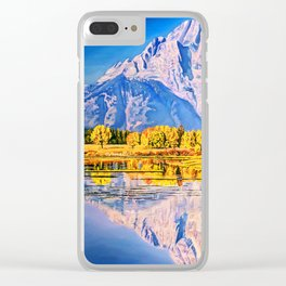 mountain reflection Clear iPhone Case