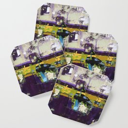 Controversy Prince Deep Purple Abstract Painting Modern Art Coaster