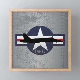 F/A-18 Super Hornet Military Fighter Jet Aircraft Framed Mini Art Print